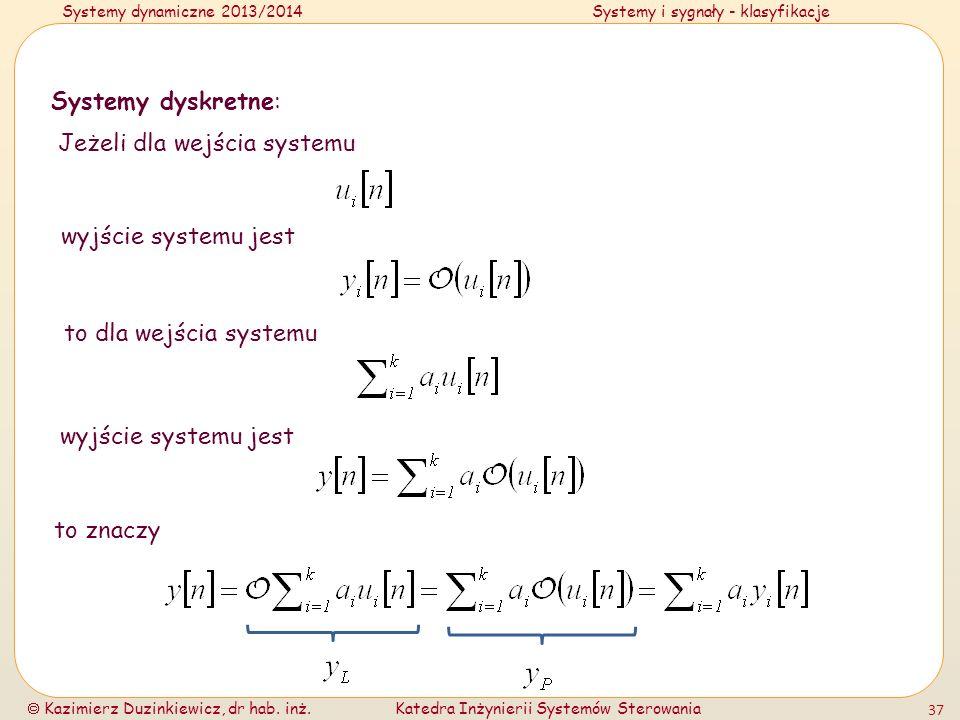 Systemy dyskretne:Jeżeli dla wejścia systemu. wyjście systemu jest. to dla wejścia systemu. wyjście systemu jest.