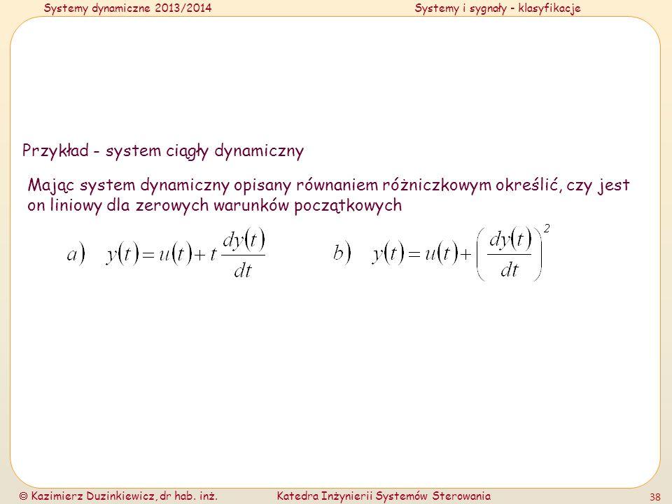 Przykład - system ciągły dynamiczny