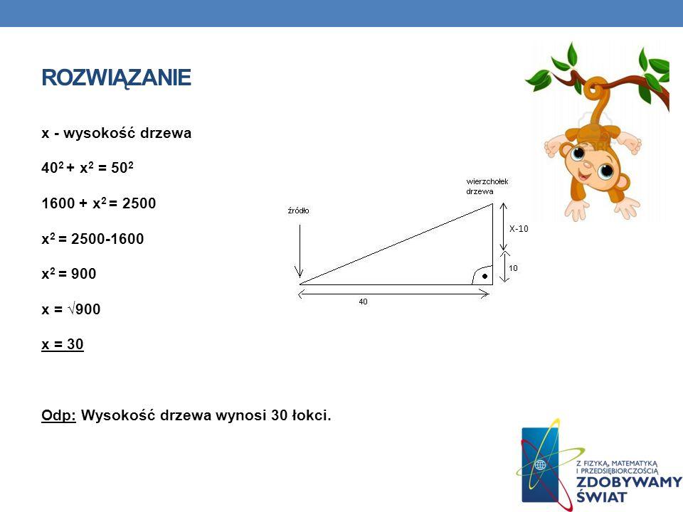 ROZWIĄZANIE x - wysokość drzewa 402 + x2 = 502 1600 + x2 = 2500 x2 = 2500-1600 x2 = 900 x = √900 x = 30 Odp: Wysokość drzewa wynosi 30 łokci.