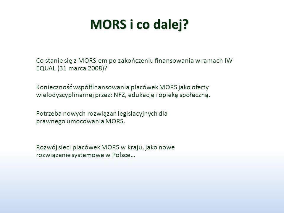 MORS i co dalej Co stanie się z MORS-em po zakończeniu finansowania w ramach IW EQUAL (31 marca 2008)