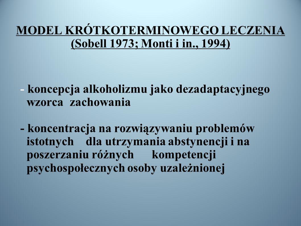MODEL KRÓTKOTERMINOWEGO LECZENIA (Sobell 1973; Monti i in., 1994)