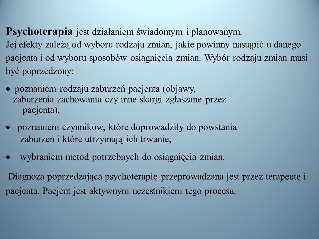 Psychoterapia jest działaniem świadomym i planowanym