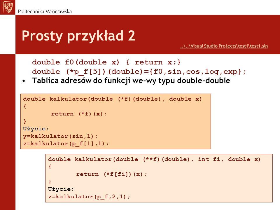 Prosty przykład 2 double f0(double x) { return x;}