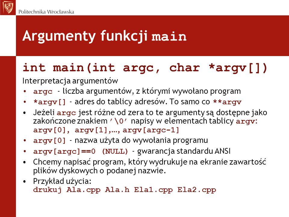 Argumenty funkcji main