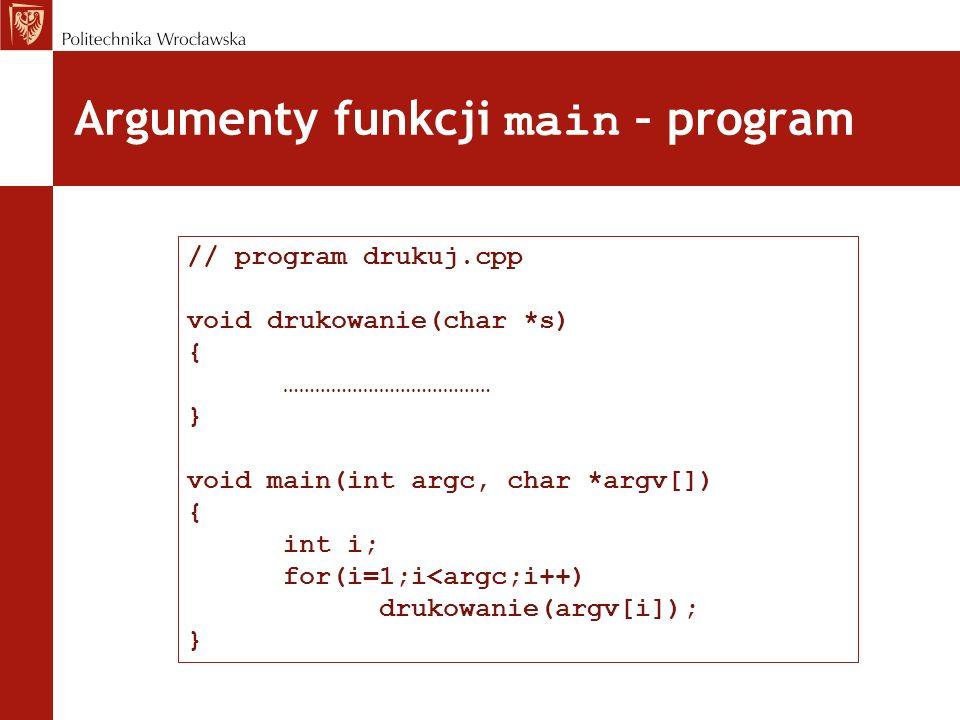 Argumenty funkcji main – program