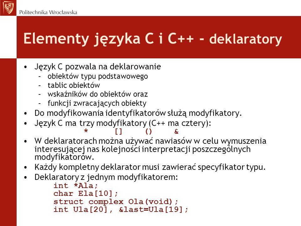 Elementy języka C i C++ - deklaratory