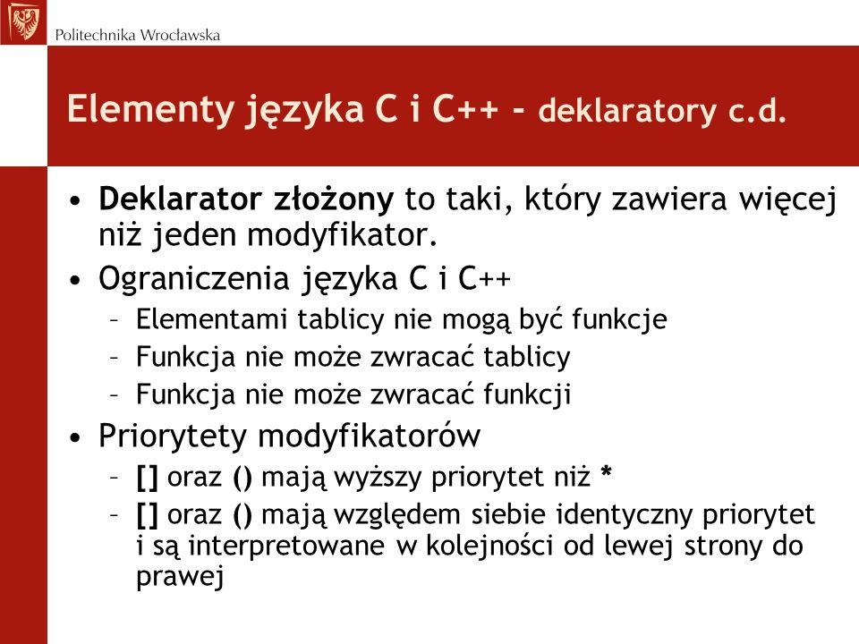 Elementy języka C i C++ - deklaratory c.d.