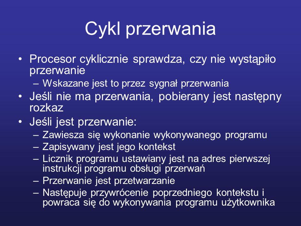 Cykl przerwania Procesor cyklicznie sprawdza, czy nie wystąpiło przerwanie. Wskazane jest to przez sygnał przerwania.