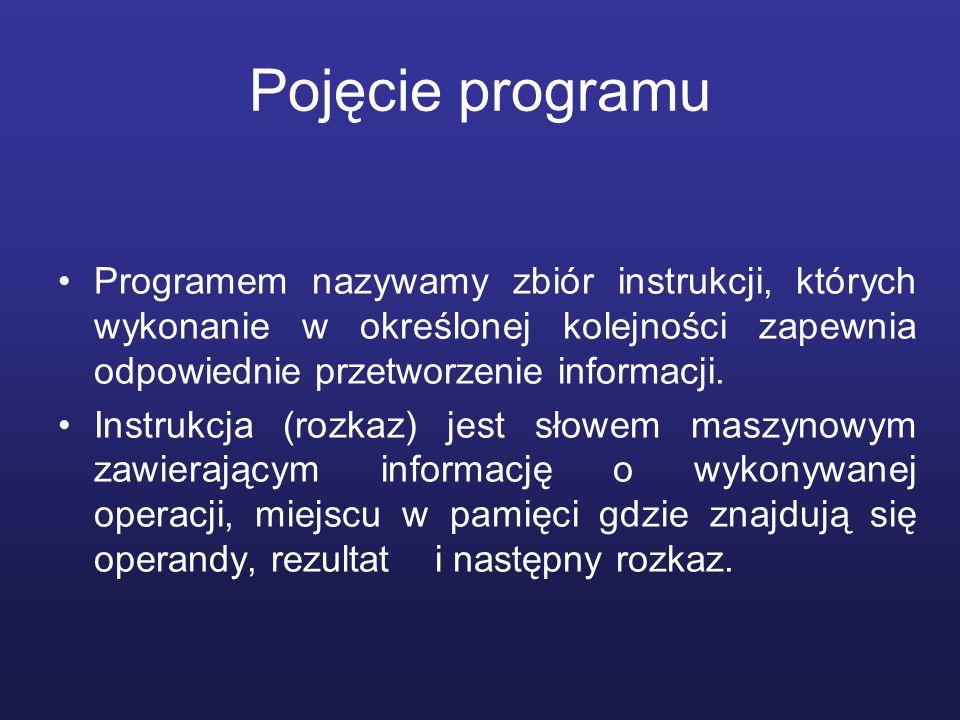 Pojęcie programu Programem nazywamy zbiór instrukcji, których wykonanie w określonej kolejności zapewnia odpowiednie przetworzenie informacji.