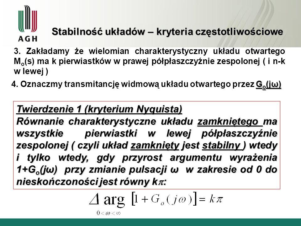Stabilność układów – kryteria częstotliwościowe