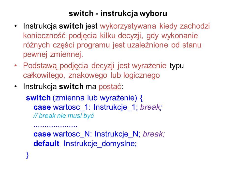 switch - instrukcja wyboru