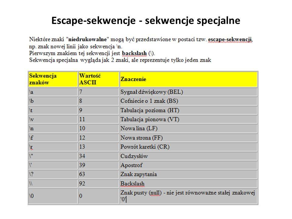 Escape-sekwencje - sekwencje specjalne
