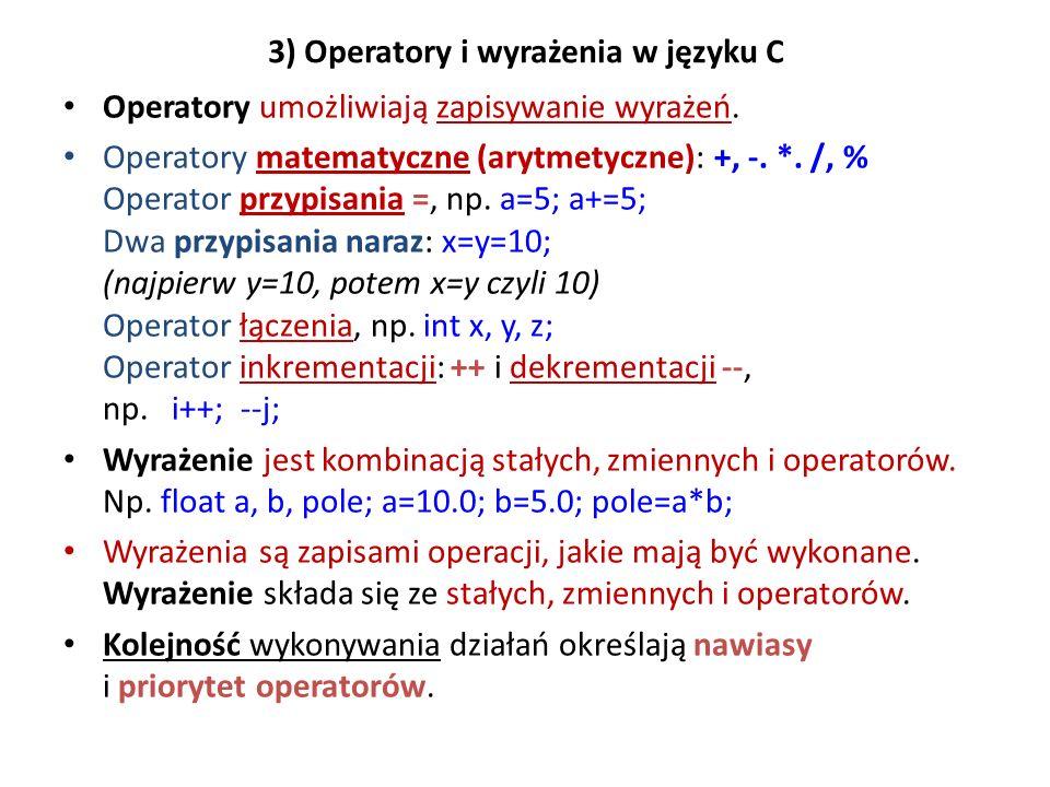 3) Operatory i wyrażenia w języku C