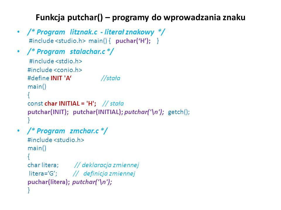 Funkcja putchar() – programy do wprowadzania znaku