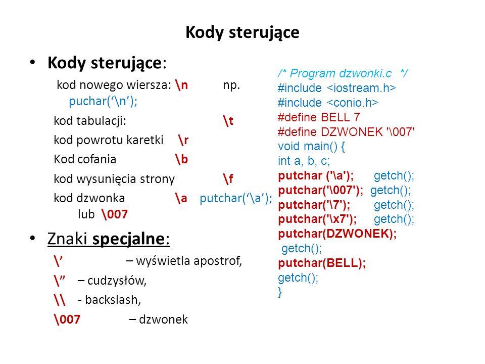 Kody sterujące Kody sterujące: Znaki specjalne: