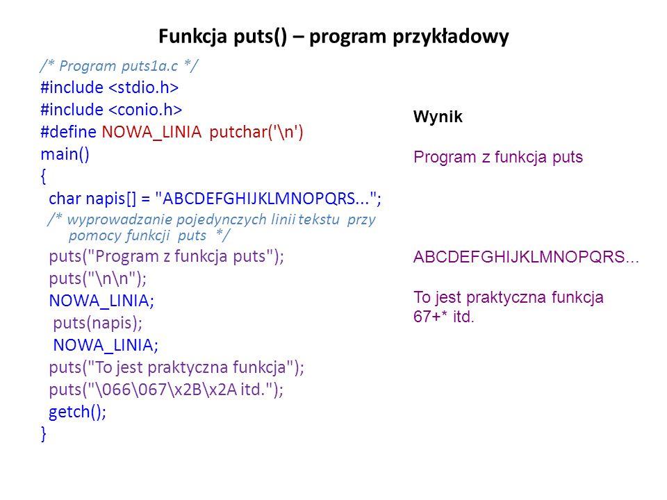 Funkcja puts() – program przykładowy
