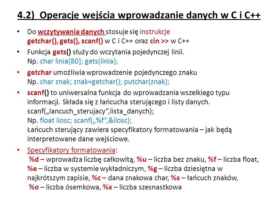 4.2) Operacje wejścia wprowadzanie danych w C i C++