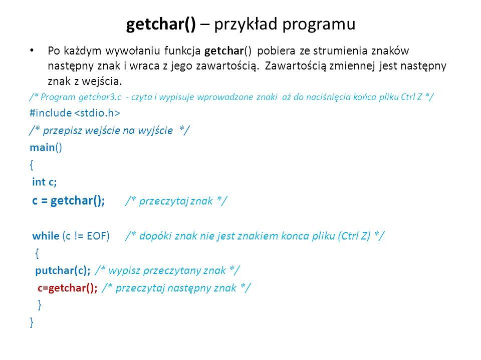 getchar() – przykład programu