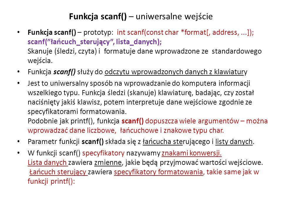 Funkcja scanf() – uniwersalne wejście