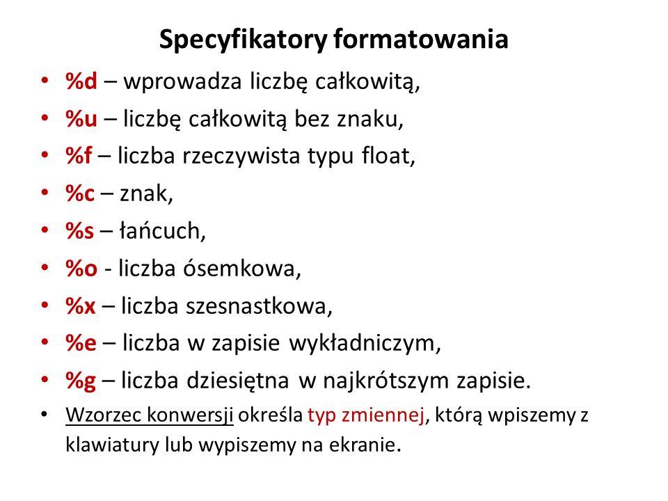 Specyfikatory formatowania