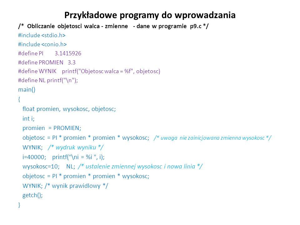 Przykładowe programy do wprowadzania