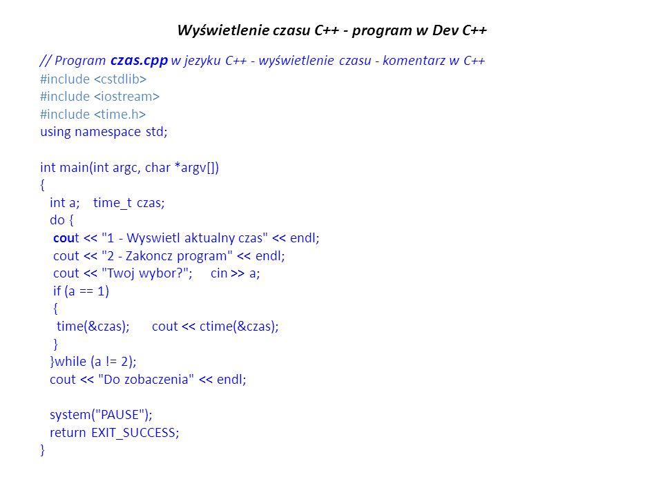 Wyświetlenie czasu C++ - program w Dev C++