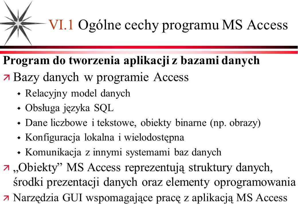 VI.1 Ogólne cechy programu MS Access