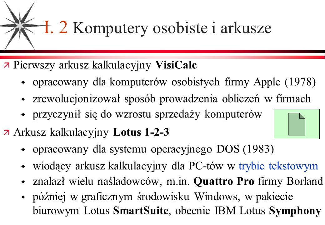 I. 2 Komputery osobiste i arkusze