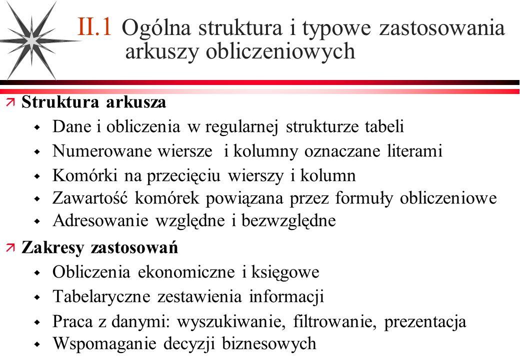 II.1 Ogólna struktura i typowe zastosowania arkuszy obliczeniowych