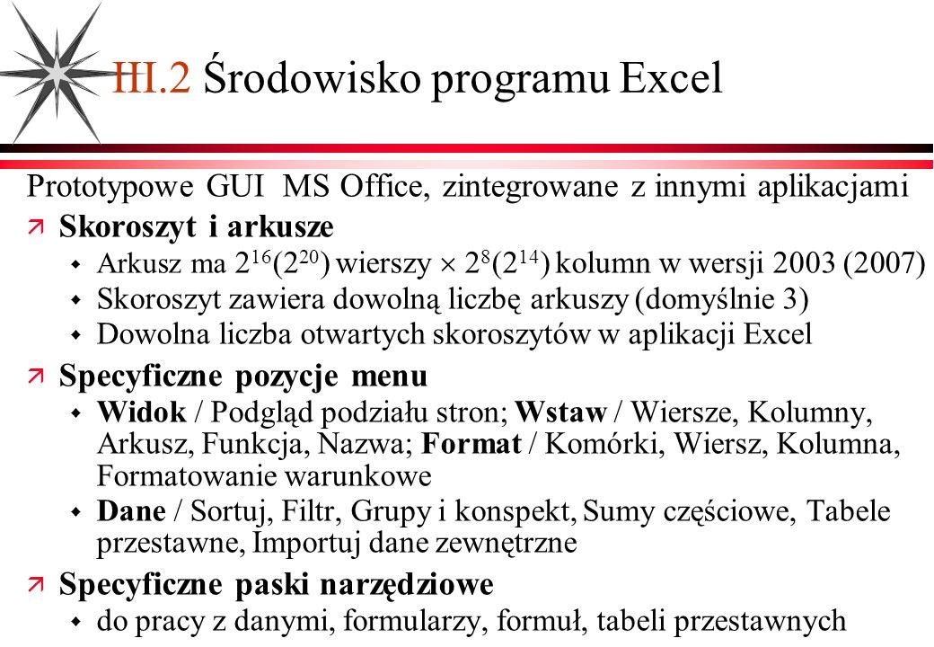 III.2 Środowisko programu Excel