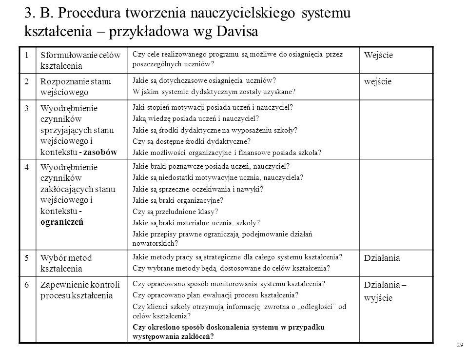 3. B. Procedura tworzenia nauczycielskiego systemu kształcenia – przykładowa wg Davisa