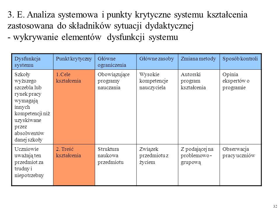 3. E. Analiza systemowa i punkty krytyczne systemu kształcenia