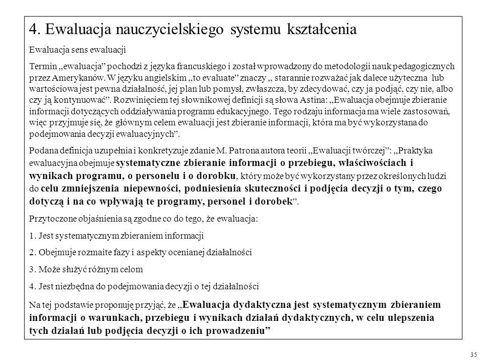 4. Ewaluacja nauczycielskiego systemu kształcenia
