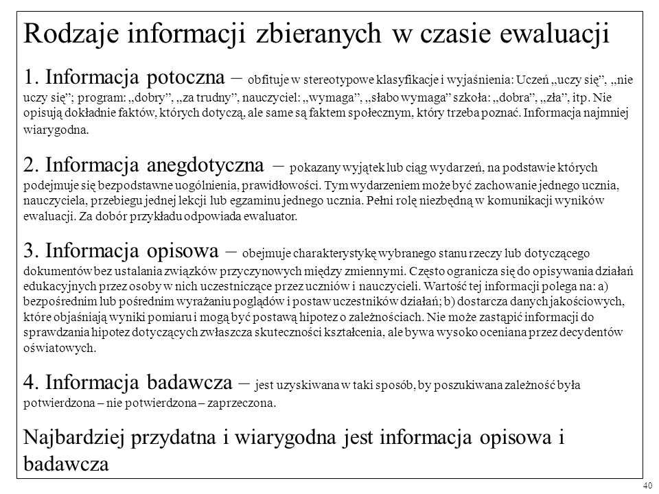 Rodzaje informacji zbieranych w czasie ewaluacji