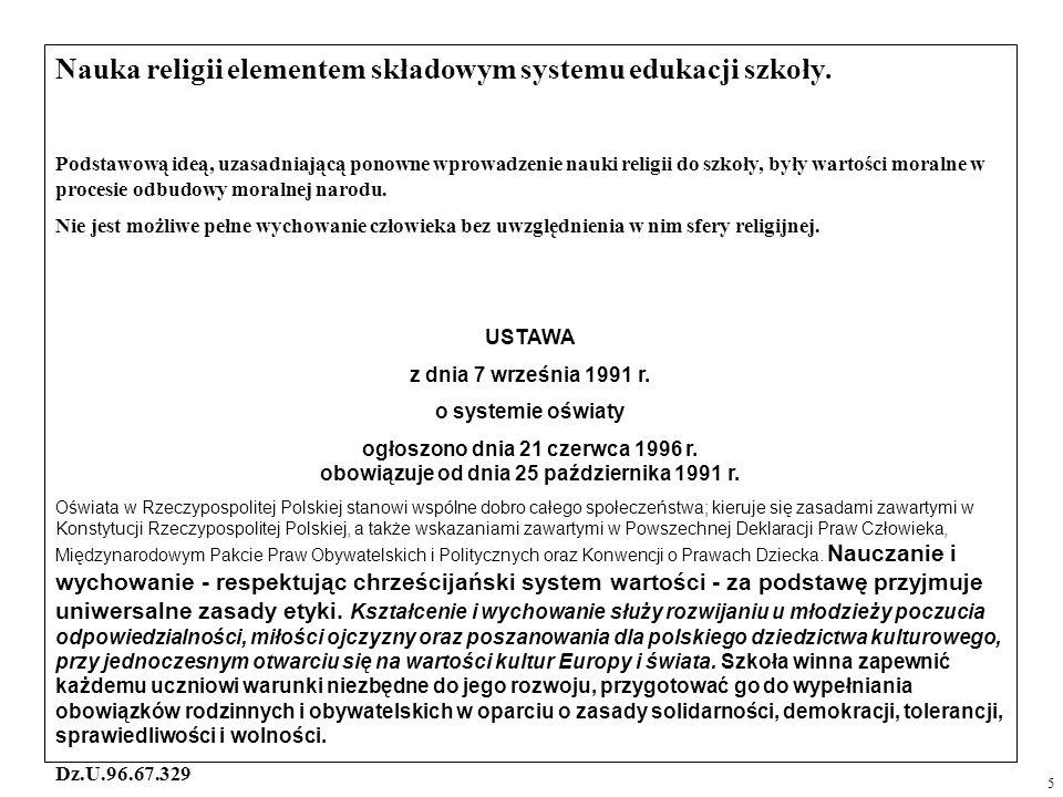 Nauka religii elementem składowym systemu edukacji szkoły.