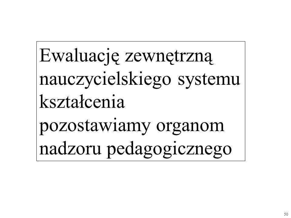 Ewaluację zewnętrzną nauczycielskiego systemu kształcenia pozostawiamy organom nadzoru pedagogicznego
