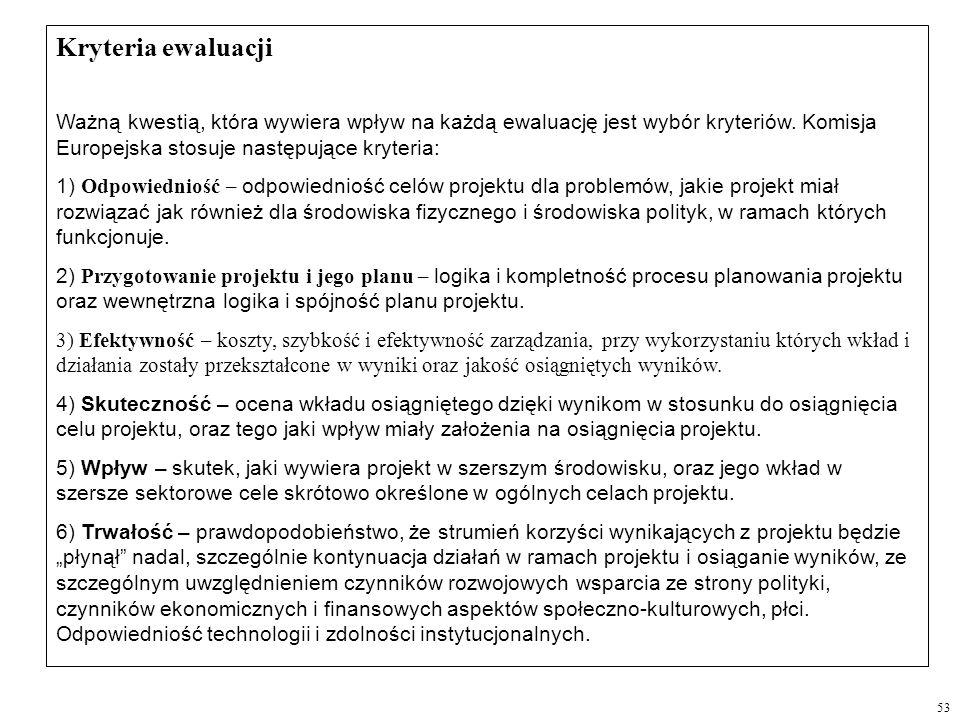 Kryteria ewaluacji Ważną kwestią, która wywiera wpływ na każdą ewaluację jest wybór kryteriów. Komisja Europejska stosuje następujące kryteria: