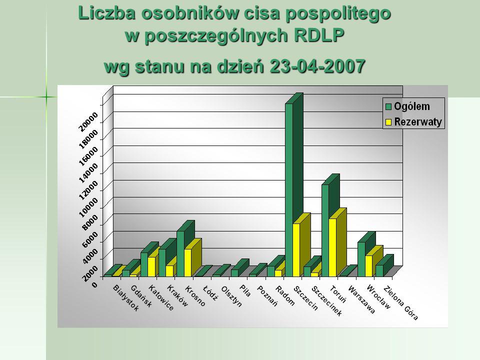 Liczba osobników cisa pospolitego w poszczególnych RDLP wg stanu na dzień 23-04-2007