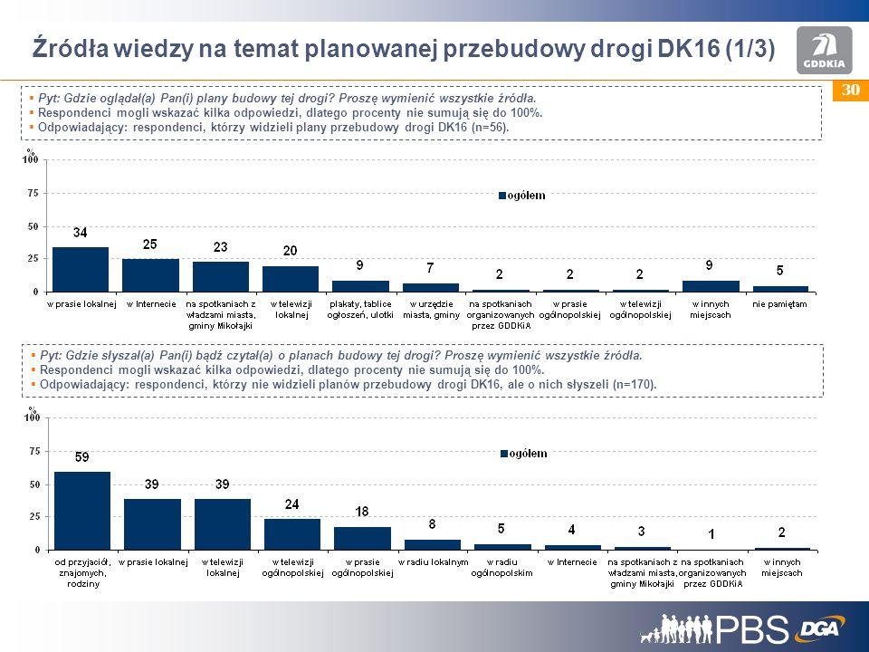 Źródła wiedzy na temat planowanej przebudowy drogi DK16 (1/3)
