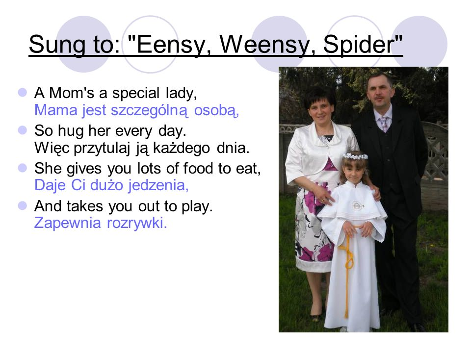 Sung to: Eensy, Weensy, Spider