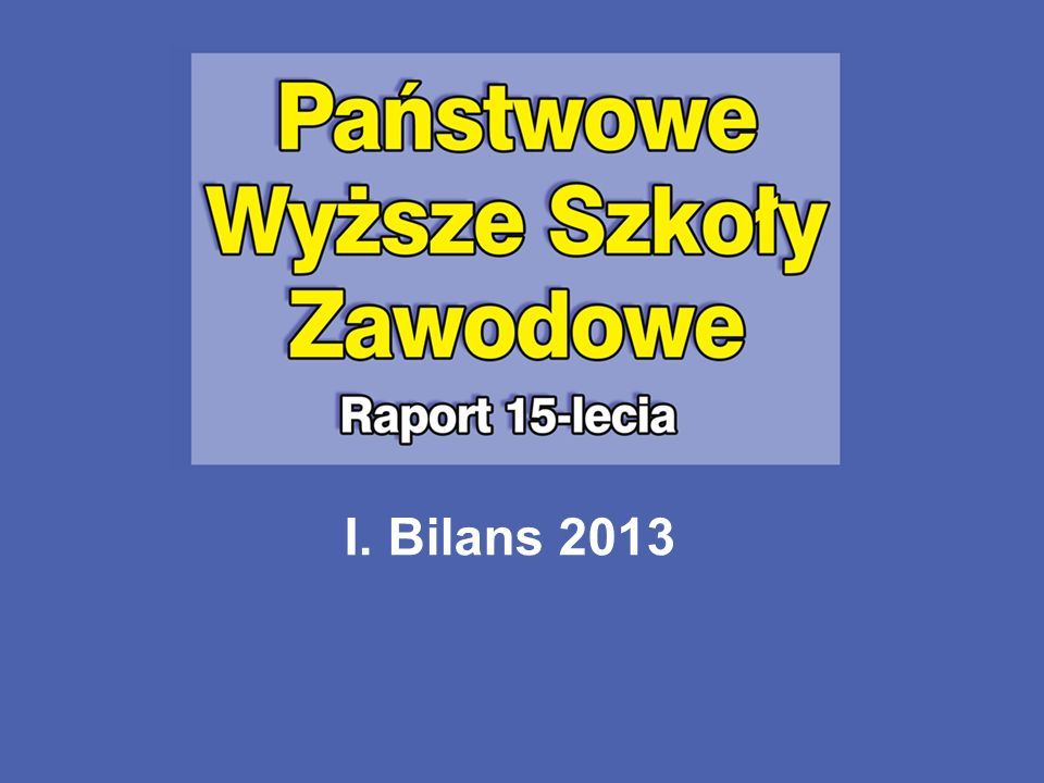 I. Bilans 2013