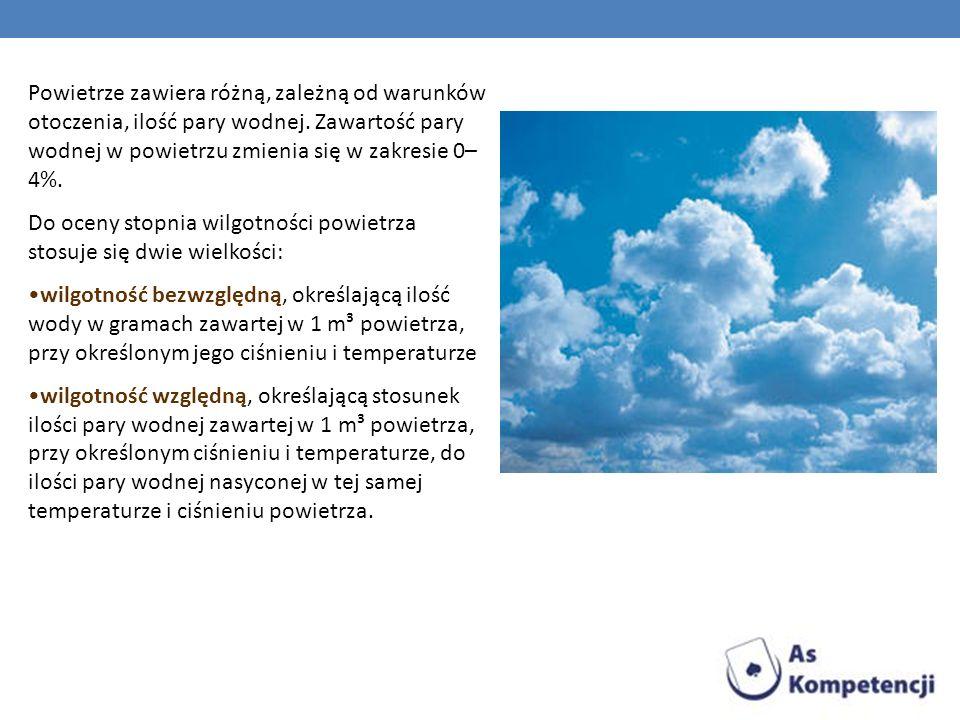 Powietrze zawiera różną, zależną od warunków otoczenia, ilość pary wodnej. Zawartość pary wodnej w powietrzu zmienia się w zakresie 0–4%.