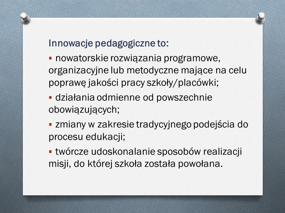 Innowacje pedagogiczne to: