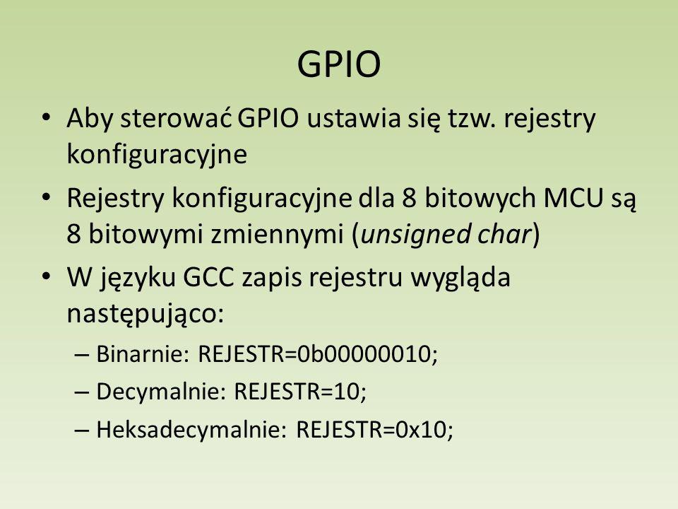 GPIO Aby sterować GPIO ustawia się tzw. rejestry konfiguracyjne
