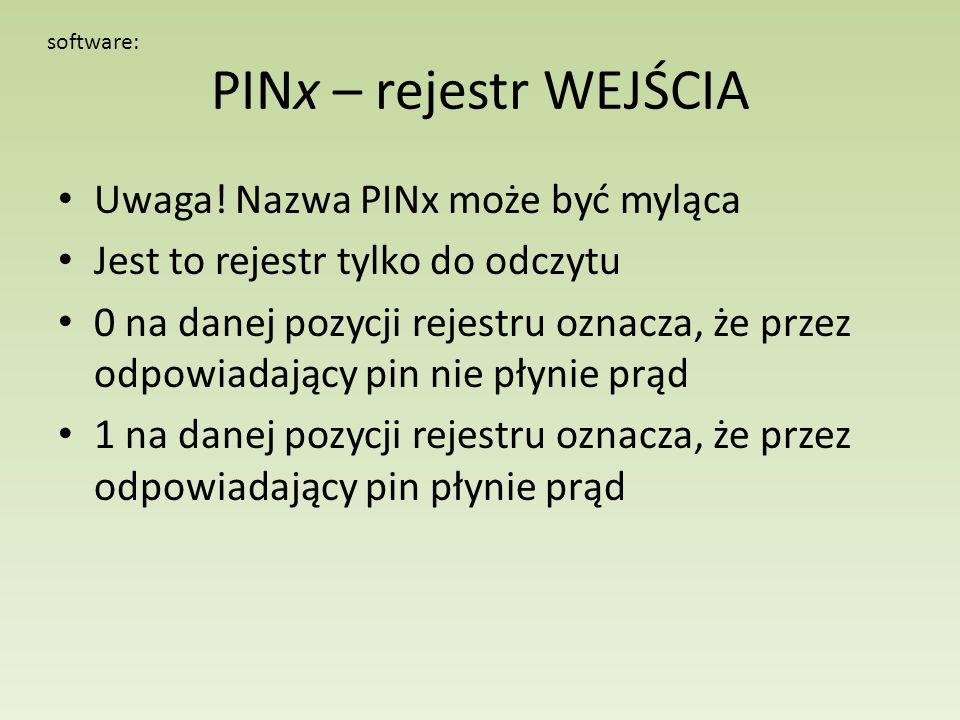 PINx – rejestr WEJŚCIA Uwaga! Nazwa PINx może być myląca