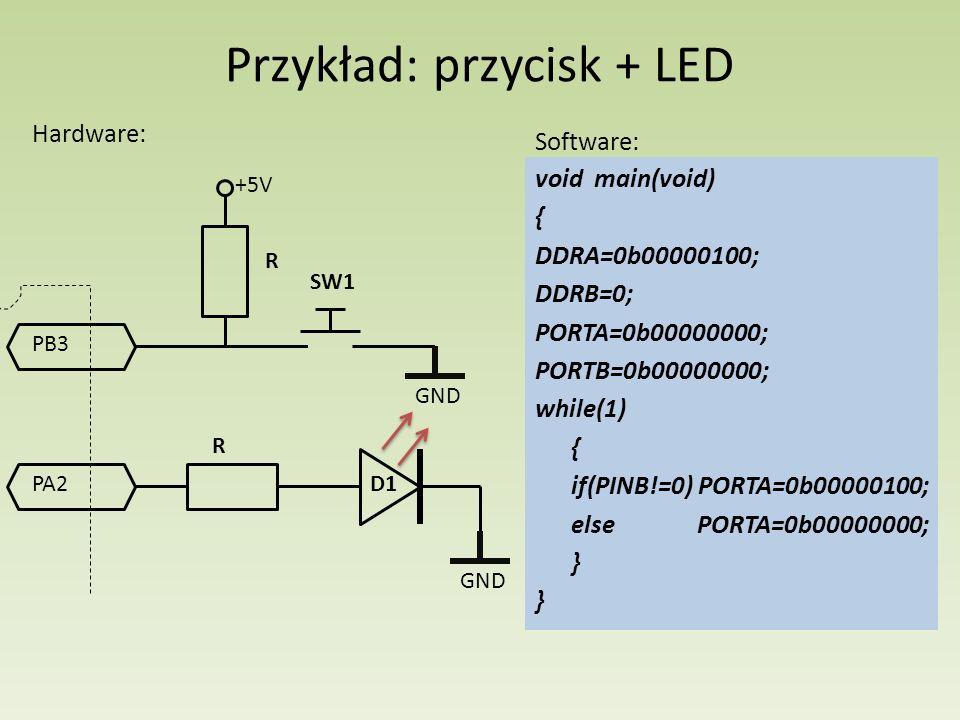 Przykład: przycisk + LED