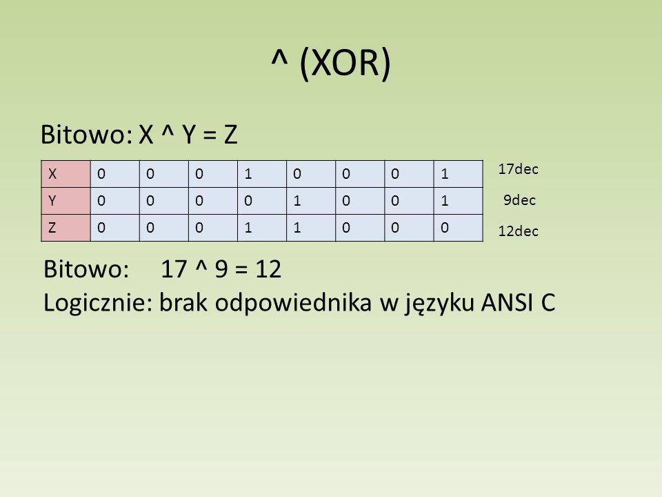 ^ (XOR) Bitowo: X ^ Y = Z Bitowo: 17 ^ 9 = 12