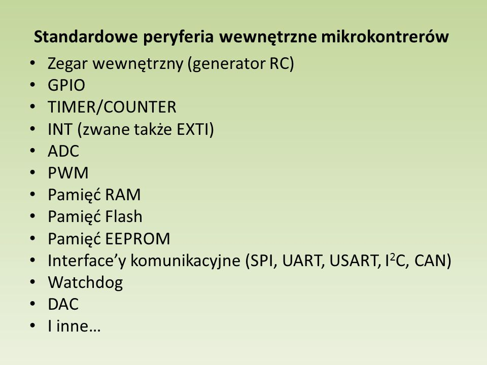 Standardowe peryferia wewnętrzne mikrokontrerów
