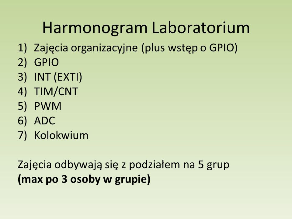 Harmonogram Laboratorium