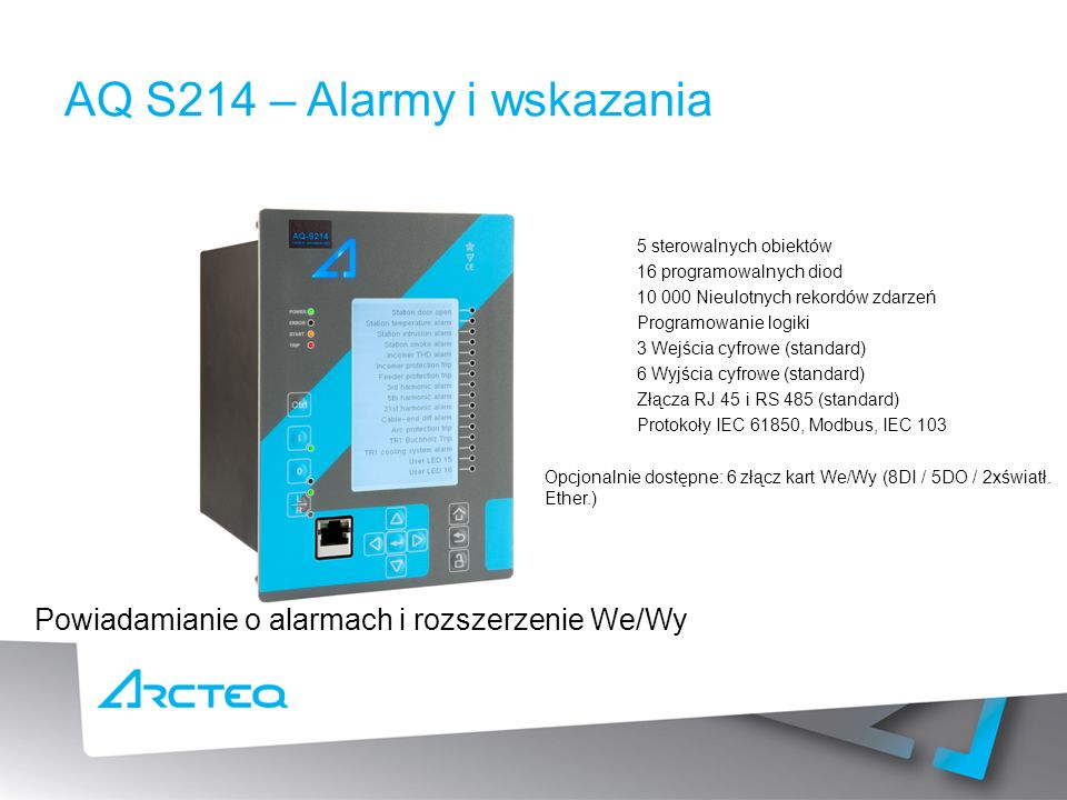 AQ S214 – Alarmy i wskazania
